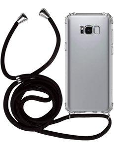 Ntech Samsung S8 Hoesje transparant silicone met Koord - Galaxy S8 Koord hoesje draagkoord TPU backcover - Zwart