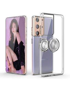 Ntech Samsung S21 Ultra hoesje - Luxe TPU Backcover Clear - Samsung Galaxy S21 Ultra met Ring houder / Ring vinger houder / standaard