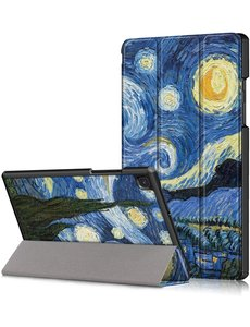 Ntech Samsung Tab A7 hoes - Galaxy Tab A7 2020 Hoesje Sterrennacht Print - Tab A7 hoes Trifold smart cover bookcase - hoesje Samsung Tab A7 - Samsung Galaxy Tab A7 hoes - Kunstleer