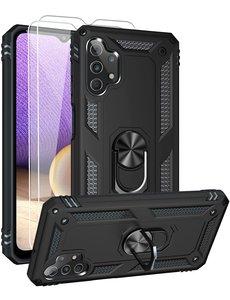 Ntech Samsung A32 Hoesje kickstand Armor case Zwart - Galaxy A32 4G Ring houder TPU backcover hoesje - met Galaxy A32 4G screenprotector 2 pack
