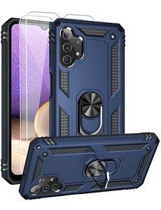 Ntech Samsung A32 Hoesje kickstand Armor case Blauw - Galaxy A32 4G Ring houder TPU backcover hoesje - met Galaxy A32 4G screenprotector 2 pack