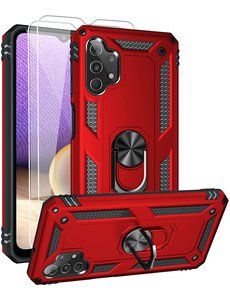 Ntech Samsung A32 Hoesje kickstand Armor case Rood - Galaxy A32 4G Ring houder TPU backcover hoesje - met Galaxy A32 4G screenprotector 2 pack
