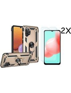 Ntech Samsung A32 Hoesje kickstand Armor case Goud - Galaxy A32 4G Ring houder TPU backcover hoesje - met Galaxy A32 4G screenprotector 2 pack