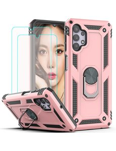 Ntech Samsung A32 Hoesje kickstand Armor case Rose Goud - Galaxy A32 4G Ring houder TPU backcover hoesje - met Galaxy A32 4G screenprotector 2 pack