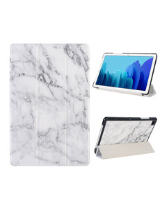 Ntech iPad Hoes 2017 - iPad 2018 Hoes Marmer Wit 9.7 Inch - iPad 2018 Hoes 9.7 - iPad 2017 Hoes smart cover Trifold  - Ntech
