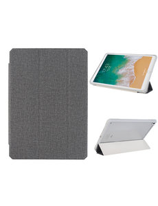 Ntech iPad 2021 hoes - iPad 2020 Hoes - iPad 2019 hoes - bookcase Zwart Tri-fold Fabric Stof shockproof iPad 10,2 hoes Clear hard PC Back Cover