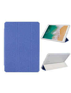 Ntech iPad 2021 hoes - iPad 2020 Hoes - iPad 2019 hoes - bookcase Blauw Tri-fold Fabric Stof shockproof iPad 10,2 hoes Clear hard PC Back Cover