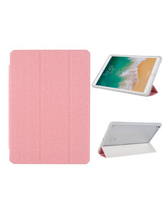 Ntech iPad 2021 hoes - iPad 2020 Hoes - iPad 2019 hoes - bookcase Pink Tri-fold Fabric Stof shockproof iPad 10,2 hoes Clear hard PC Back Cover