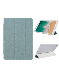 Ntech iPad 2021 hoes - iPad 2020 Hoes - iPad 2019 hoes - bookcase Groen Tri-fold Fabric Stof shockproof iPad 10,2 hoes Clear hard PC Back Cover