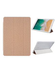 Ntech iPad 2021 hoes - iPad 2020 Hoes - iPad 2019 hoes - bookcase Rose Goud Tri-fold Fabric Stof shockproof Ipad 10,2 hoes Clear hard PC Back Cover