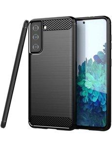 Ntech Samsung S21 hoesje Geborsteld  siliconen - Galaxy S21 hoesje Brushed Rugged TPU Cover Zwart