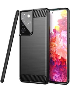 Ntech Samsung S21 Ultra hoesje Geborsteld  siliconen - Galaxy S21 Ultra hoesje Brushed Rugged TPU Cover Zwart