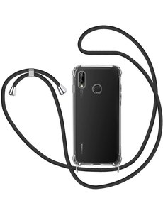 Ntech Huawei P20 Lite Hoesje met Koord  transparant silicone  case - Huawei P20 Lite Koord hoesje draagkoord TPU backcover - Zwart