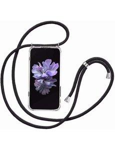 Ntech Samsung A10 / M10 Hoesje met Koord  transparant silicone  case - Galaxy M10 / Galaxy A10 Koord hoesje draagkoord TPU backcover - Zwart