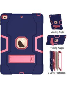 Ntech iPad 2020 hoes 10.2 - iPad 2019 hoes Kickstand Armor hoes - Donker Blauw / Pink