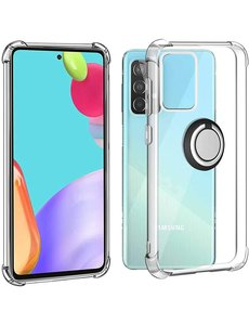 Ntech Samsung A52 hoesje - Luxe Anti - shock- Galaxy A52 silicone Backcover Clear case - Samsung Galaxy A52 5G hoesje met Ring houder / Ring vinger houder / standaard