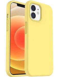 Ntech iPhone 12 hoesje silicone - hoesje iPhone 12 Pro case  - Nano Liquid siliconen Backcover - Geel