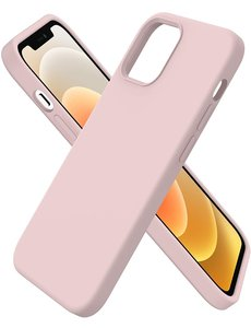 Ntech iPhone 12 hoesje silicone - hoesje iPhone 12 Pro case  - Nano Liquid siliconen Backcover - Pink Sand