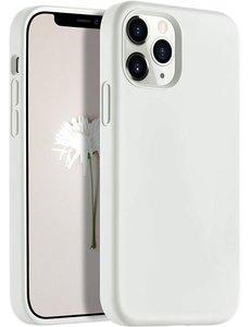Ntech iPhone 12 Pro Max hoesje silicone - hoesje iPhone 12 Pro Max case  - Nano Liquid siliconen Backcover - Wit