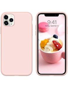 Ntech iPhone 12 Pro Max hoesje silicone - hoesje iPhone 12 Pro Max case  - Nano Liquid siliconen Backcover - Pink sand