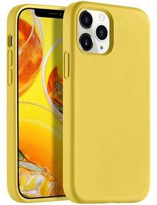 Ntech iPhone 12 Pro Max hoesje silicone - hoesje iPhone 12 Pro Max case  - Nano Liquid siliconen Backcover - Geel