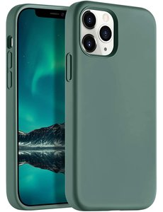 Ntech iPhone 12 Pro Max hoesje silicone - hoesje iPhone 12 Pro Max case  - Nano Liquid siliconen Backcover - Pine Groen