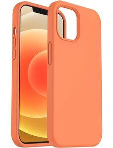 Ntech iPhone 12 hoesje silicone - hoesje iPhone 12 Pro case  - Nano Liquid siliconen Backcover - Oranje