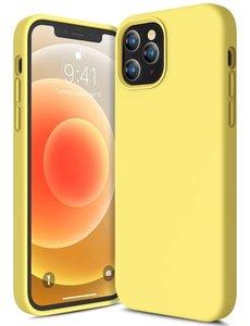 Ntech iPhone 12 Mini hoesje silicone - hoesje iPhone 12 Mini case  - Nano Liquid siliconen Backcover - Geel