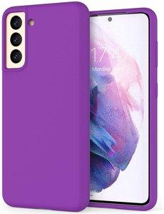 Ntech Hoesje Samsung S21 silicone - Samsung Galaxy S21 hoesje Dark Paars  - Cover s21 - hoesje S21 Nano Liquid siliconen Backcover