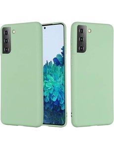 Ntech Hoesje Samsung S21 silicone - Samsung Galaxy S21 hoesje Licht Groen   - Cover s21 - hoesje S21 Nano Liquid siliconen Backcover