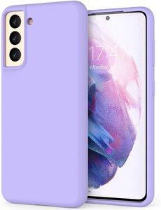 Ntech Hoesje Samsung S21 silicone - Samsung Galaxy S21 hoesje Lila   - Cover s21 - hoesje S21 Nano Liquid siliconen Backcover