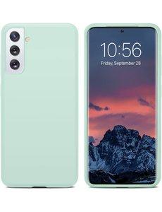 Ntech Hoesje Samsung S21 silicone - Samsung Galaxy S21 hoesje Mint Groen   - Cover s21 - hoesje S21 Nano Liquid siliconen Backcover
