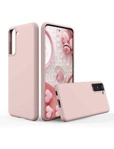 Ntech Hoesje Samsung S21 silicone - Samsung Galaxy S21 hoesje Pink Sand  - Cover s21 - hoesje S21 Nano Liquid siliconen Backcover