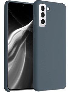 Ntech Hoesje Samsung S21 silicone - Samsung Galaxy S21 hoesje Dark Gray  - Cover s21 - hoesje S21 Nano Liquid siliconen Backcover