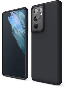 Ntech Samsung S21 Ultra hoesje - S21 Ultra hoesje Zwart - Samsung Galaxy S21 Ultra hoesje Nano Liquid siliconen Backcover- hoesje Samsung S21 Ultra
