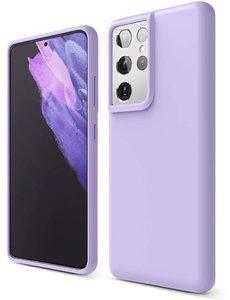 Ntech Samsung S21 Ultra hoesje - S21 Ultra hoesje Lila - Samsung Galaxy S21 Ultra hoesje Nano Liquid siliconen Backcover- hoesje Samsung S21 Ultra