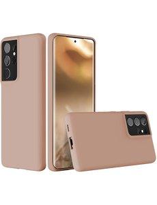 Ntech Samsung S21 Ultra hoesje - S21 Ultra hoesje Pink Sand - Samsung Galaxy S21 Ultra hoesje Nano Liquid siliconen Backcover- hoesje Samsung S21 Ultra
