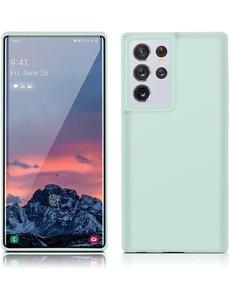 Ntech Samsung S21 Ultra hoesje - S21 Ultra hoesje Mint Groen - Samsung Galaxy S21 Ultra hoesje Nano Liquid siliconen Backcover- hoesje Samsung S21 Ultra