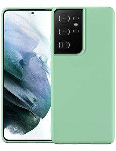 Ntech Samsung S21 Ultra hoesje - S21 Ultra hoesje Licht Groen - Samsung Galaxy S21 Ultra hoesje Nano Liquid siliconen Backcover- hoesje Samsung S21 Ultra