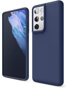 Ntech Samsung S21 Ultra hoesje - S21 Ultra hoesje Navy - Samsung Galaxy S21 Ultra hoesje Nano Liquid siliconen Backcover- hoesje Samsung S21 Ultra