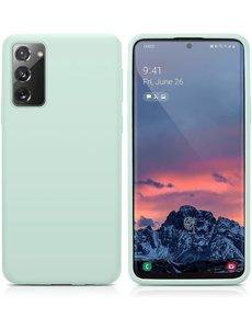 Ntech Samsung S20 fe hoesje - S20 fe hoesje Mint Groen - Samsung Galaxy S20 fe hoesje Nano Liquid siliconen Backcover- hoesje Samsung S20 fe