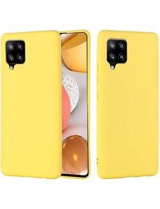 Ntech Samsung A42 hoesje - A42 5G hoesje Geel - Samsung Galaxy A42 hoesje Nano Liquid siliconen Backcover- hoesje Samsung A42