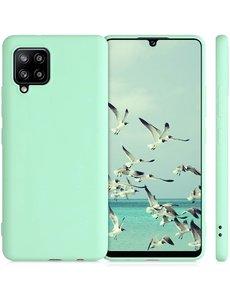 Ntech Samsung A42 hoesje - A42 5G hoesje Mint Groen - Samsung Galaxy A42 hoesje Nano Liquid siliconen Backcover- hoesje Samsung A42