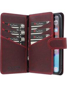 Pierre Cardin iPhone 12/12 Pro Bookcase hoesje - Pierre Cardin - Effen Rood - Leer