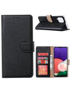 Ntech Samsung A22 hoesje bookcase Zwart - Samsung Galaxy A22 5G hoesje portemonnee wallet case -  Hoesje A22 5G book case hoes cover