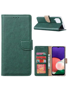 Ntech Samsung A22 hoesje bookcase Groen - Samsung Galaxy A22 5G hoesje portemonnee wallet case -  Hoesje A22 5G book case hoes cover