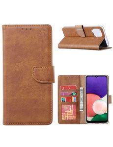 Ntech Samsung A22 hoesje bookcase Bruin - Samsung Galaxy A22 5G hoesje portemonnee wallet case -  Hoesje A22 5G book case hoes cover