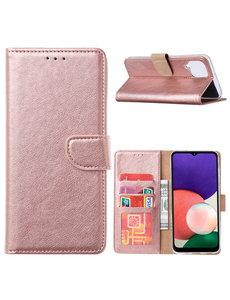 Ntech Samsung A22 hoesje bookcase Rose Goud - Samsung Galaxy A22 5G hoesje portemonnee wallet case -  Hoesje A22 5G book case hoes cover