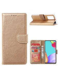 Ntech Samsung A22 hoesje bookcase Goud - Samsung Galaxy A22 5G hoesje portemonnee wallet case -  Hoesje A22 5G book case hoes cover