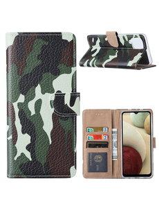 Ntech Samsung  A12 Hoesje Camouflage Legerprint - Galaxy A12 5G Boek Hoesje / Portemonnee cover - Camouflage hoesje Samsung A12